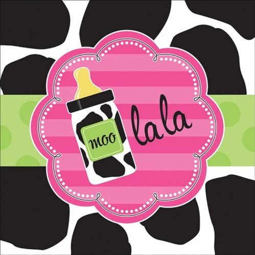 16-Count Paper Lunch Napkins, Baby Girl Cow Print