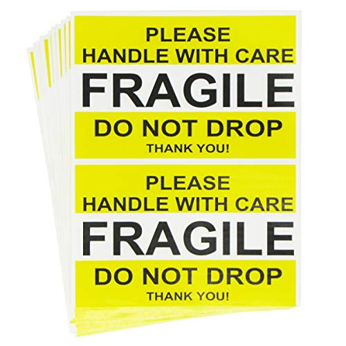 Tag-A-Room Fragile Stickers 2.5'' x 4'' 50 Labels, Fragile - Please Handle with Care - Do Not Drop Thank You Moving Labels Stickers Yellow ()