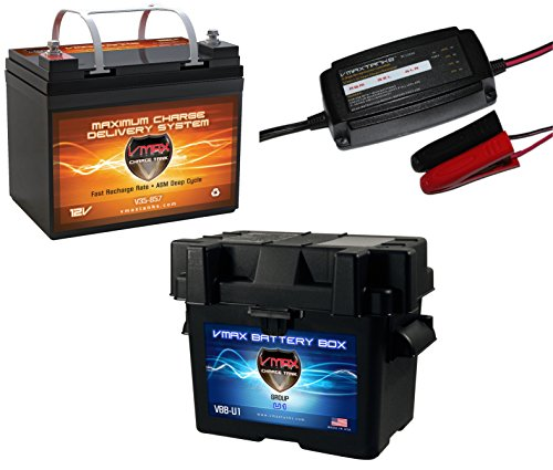 "VMAX857 & BC1204 &U1 BOX PKG 12 Volt 35Ah SLA AGM Deep Cycle Group U1 Battery U1 Battery Box & VMAX 3.3Amp 4-Stage 12V Microprocessor Controlled ""Smart"" Charger/ Tender/ Maintainer"