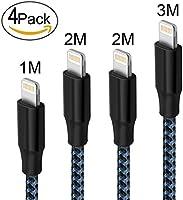 Lightning Kabel Vanzon® [4Pack] 1M 2M 2M 3M Nylon iPhone Ladekabel iPhone Kabel USB Datenkabel für for Apple iPhone X / 8 / 8 Plus / 7 / 7 Plus / 6S / 6S Plus / 6 / 6 Plus / SE / 5S / 5C / 5 , iPad Pro / Air / Air 2 / Mini 2 3 4 , iPod Touch 5/6, iPod Nano 7(Schwarz Blau)