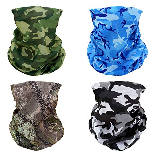 4x Camouflage Camo Multifunctional Elastic Seamless Headwear Bandana Headband Half Face Mask Scarf Neck UV Sun Protection Windproof Dustproof Motorcycle Bike Airsoft Paintball Hunting Hiking Fishing
