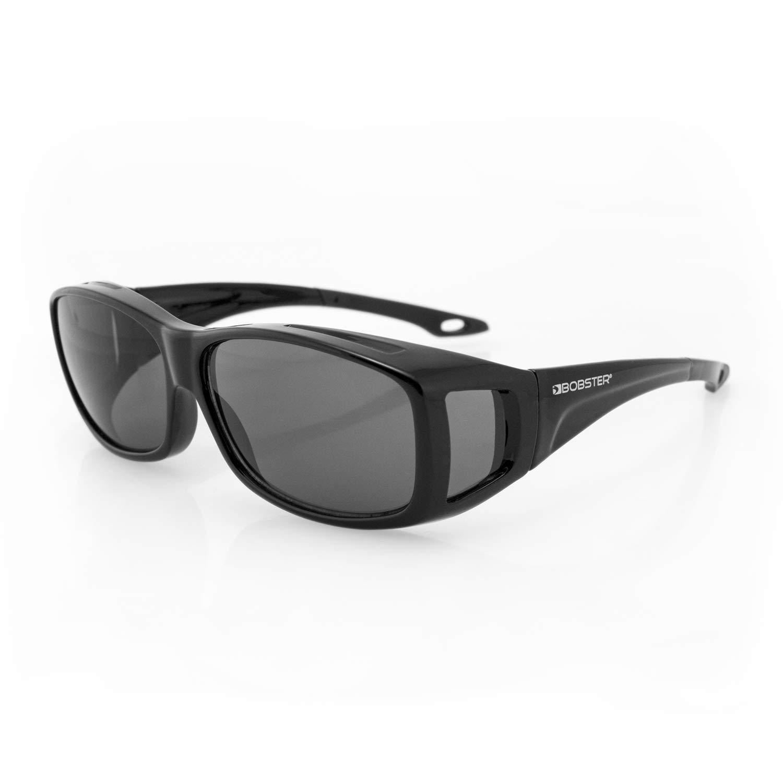 Bobster Condor 2 OTG Sunglasses, Gloss Black Frame, Anti-Fog Smoked Lens, Standard