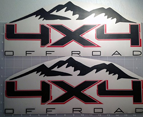 4X4 Offroad Mountain Two Color Vinyl Decal for Ford Trucks Matte Black with Red Outline (Tower Ford 4)