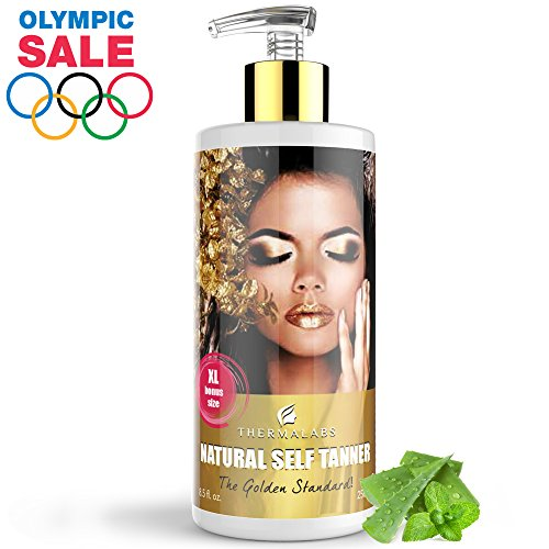 Organic Self Tanner Lotion XL 8.5 oz: Ultra Natural Glow! Gradual Tan Subtle to Dark Sunless Tanning. Women & Mens Face Body Tanners. Express Self-Tanner Lotions. Bronzing Better Than Classic - Color What Is For Pale Best Skin