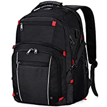 Laptop Backpack 17.3-inch Travel Extra Large College Backpacks Business Water Resistant Computer Backpack with USB Charging Port Black