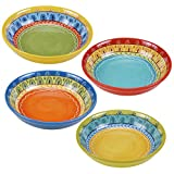 "Certified International 14184SET/4 Valencia Soup/Pasta Bowl (Set of 4), 9.25"", Multicolor"