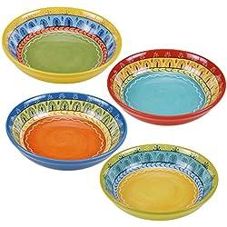 "Certified International Valencia Soup/Pasta Bowl (Set of 4), 9.25"", Multicolor"
