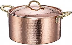 New DEMMEX 1.2MM Thick Hammered Copper Soup Pot Stew Pan Casserole, 3.4 Quart (3.4 Quart)