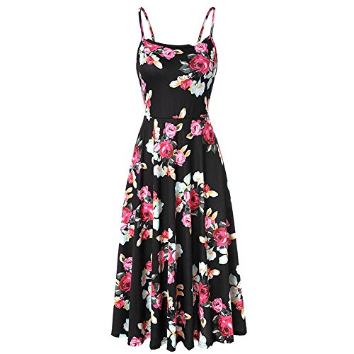 Women's Summer Backless Shoulder Straps Adjustable Casual Floral Printed Flared Swing midi Dresses (Red,Small) ()