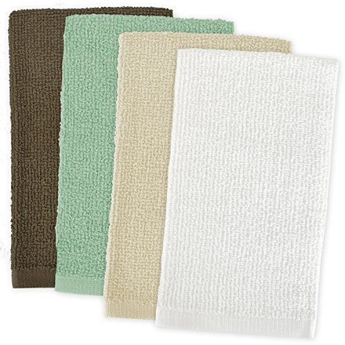 DII 100% Cotton, Machine Washable, Ultra Absorbent, Everyday Kitchen Basic, Utility, Bar Mop Dishtowel 16 x 19 Set of 4- Natural
