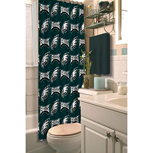 1 Piece Green NFL Philadelphia Eagles Football Sports Themed Shower Curtain, Polyester Detailed Sports Pattern, Modern Elegant Design, Official Colorful Team Logo Printed, All Seasons, True Color