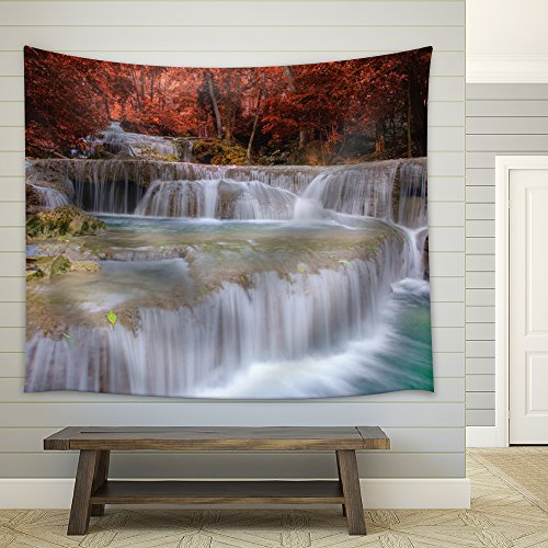 Big Waterfall in a Forest During Fall Time Fabric Tapestry