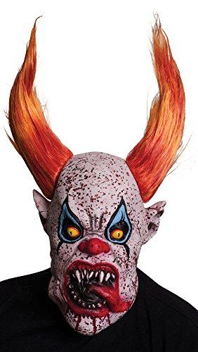 Clown Masks For Sale (Morbid Enterprises Horns The Clown Mask, Orange/White/Blue/Red, One Size)