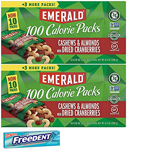 Emerald 100 Calorie Cashews Cranberries Roasted and Salted Snack Pack. Convenient Shopping For 2 Boxes of Individually Wrapped Single Serve Emerald Nuts. Includes 5 Piece Gum Sample. ()