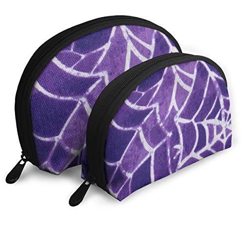 Cosmetic Bag Halloween Spider Purple Web Travel Makeup Pencil Pen Case Multifunction Storage Portable - 2 Piece Set ()