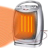 Space Heater Electric Heater Oscillating Ceramic Heater with Adjustable Thermostat and Overheat Protection, UL Listed Portable Small Heater for Home Office Kitchen Bedroom and Dorm, 750W/1500W