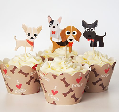 24-Dog-Cupcake-Toppers-Wrappers-Red-Fox-Tail