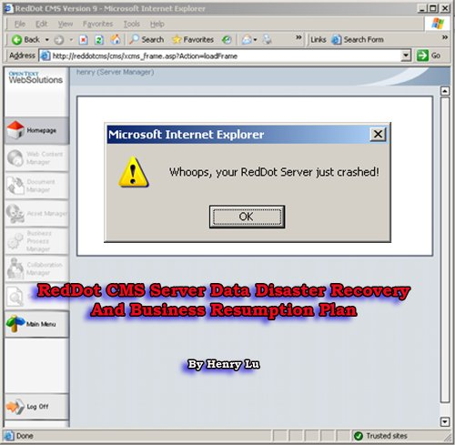 RedDot CMS Server Data Disaster Recovery And Business Resumption Plan