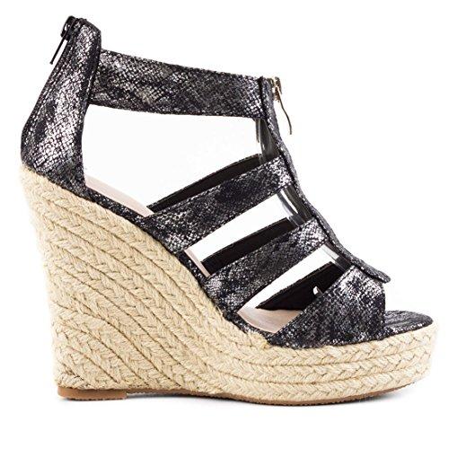 Marimo Damen Sandalen Sandaletten mit Keilabsatz Sommer Schuhe Schwarz Metallic