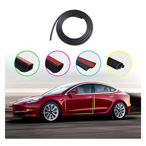 LFOTPP 8PCS Door Seal Kit Compatible with Tesla Model 3, Soundproof Rubber Weather Draft Seal Strip Wind Noise Reduction Kit,Car Door Trim Edge Moulding Rubber Weatherstrip Seal Strip