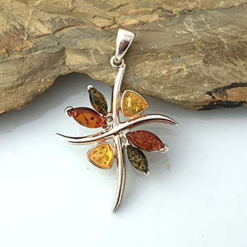 AUTHENTIC BALTIC AMBER Honey, Cognac and Green Colors, 925 Sterling Silver, Shimmering Flower Pendant (1.6