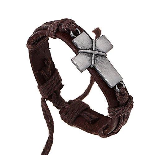 Vintage Cross - New brand Cross Leather Bracelet |Vintage Alloy Cross Handmade Woven Wrap Rope Wristbands for Men Women Boys Girls Adjustable