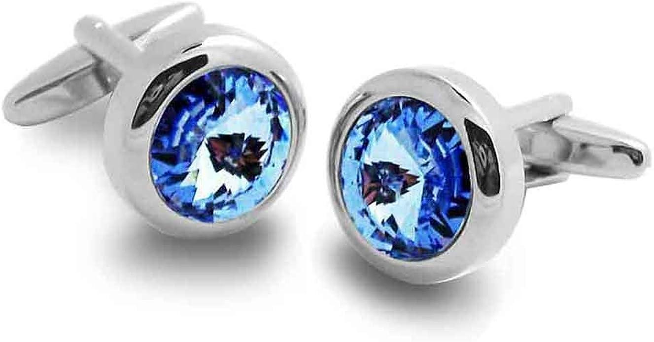 Covink/® Boutons de manchette en cristal Swarovski Boutons de manchette en cristal bleu