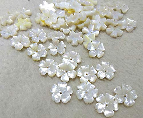 20pcs Genuine Pearl Shell -White Shell Flower Cup Petal Beads,Mother of Pearl Flower 12mm,Center drilled Hole,Jewelry Making Supplier ()