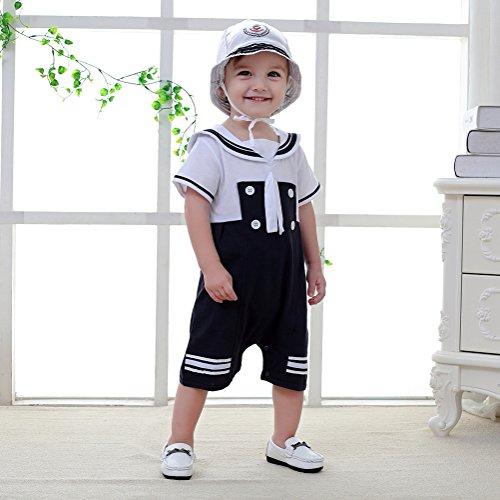 Nyan Cat Mays Baby Toddler Boys Sailor Stripe Romper Marine Navy Romper Onesie Outfit