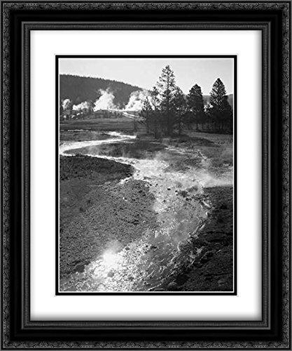 Stream Winding Back Toward Geyser, Central Geyser Basin, Yellowstone National Park, Wyoming, ca. 194 2X Matted 20x24 Black Ornate Framed Art Print by Adams, Ansel ()