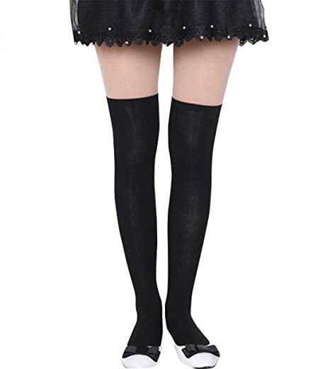 1018f2918 Women Solid Color Knit Extra Long Boot Socks Over Knee Thigh High School  Girl Stocking (