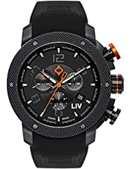New LIV GX1 Swiss Chronograph Black & Gray Numbers 1210.45.111.SRB200