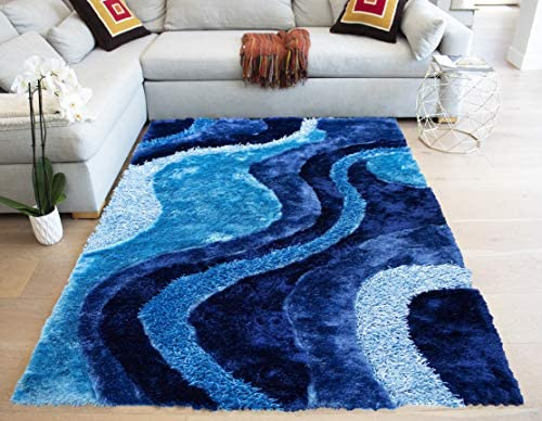 LA Romance Shag Shaggy Solid Fluffy Fuzzy Furry Decorative Designer Modern Contemporary 8-Feet-by-10-Feet Polyester Made Area Rug Carpet Rug Turquoise Blue