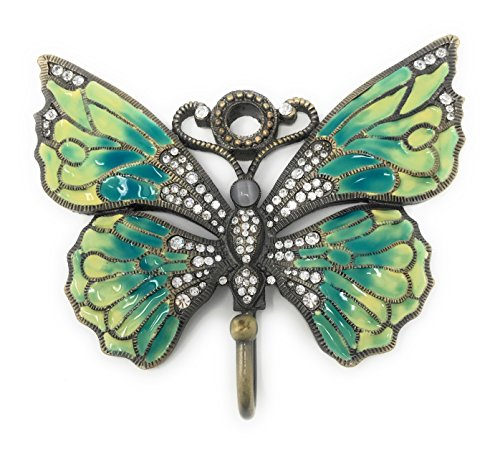 Kubla Crafts Enameled Blue Green Butterfly Wall Hook, With Austrian Crystals, 5.25 Inches Wide