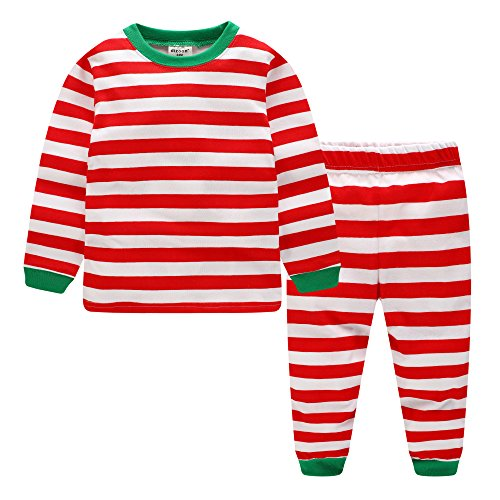 Baby Kids Striped Christmas Pajamas Girls Xmas Pjs Boys Long Sleeve Sleepwear Children Clothes Set Toddler Outfits Winter 100% Cotton 2 Piece Red and Green