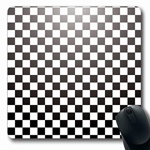 Radial Tile - LifeCO Computer Mousepad Tile White Abstract Checkered Radial Gradient Black Shape Pattern Clip Chess Grid Checked Crossed Oblong Shape 7.9 x 9.5 Inches Oblong Gaming Non-Slip Rubber Mouse Pad Mat