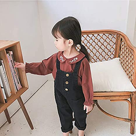 ALLAIBB Baby Toddler Girl Cotton Denim Overalls Suspender Bib Pants Solid Color Trousers