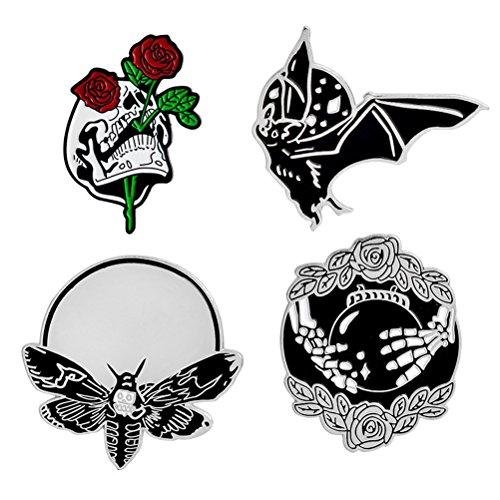 DINGJIN 4 Pcs Punk Enamel Brooch Pin Bat Bee Skeleton Collar Pins Badge Corsage Brooch,Silver (Punk Rock Buttons)