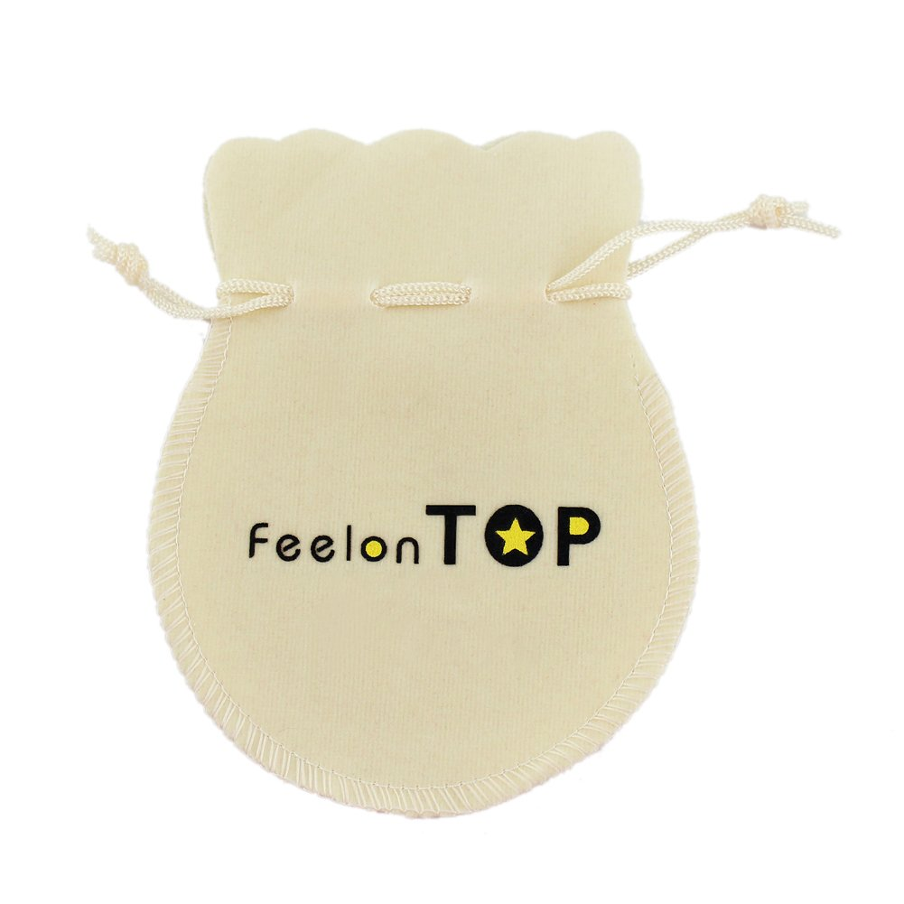 Feelontop Gold Color Pearl Metal Chain Collar Necklaces with Jewelry Pouch