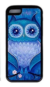 Soft Case Shell for iPhone 5C Covered with Art Cute Blue Owl,Customized Black TPU Cover Skin for iPhone 5C,Cute iPhone 5C Case