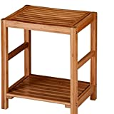 Espresso Finish Solid Wood Storage Shoe Bench Shelf Rack, Brown Bamboo Spa Bench With Bottom Shelf & E-Book