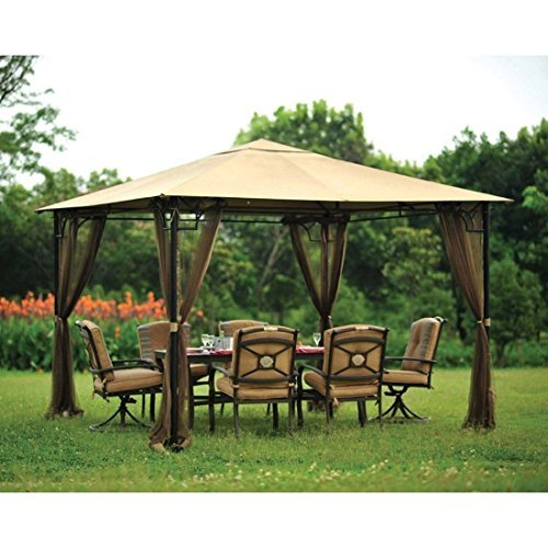 Living Accents 10ft x 10ft 4-Panel Universal Rain Proof Replacement Gazebo Mosquito Netting (Gazebo sold separately)