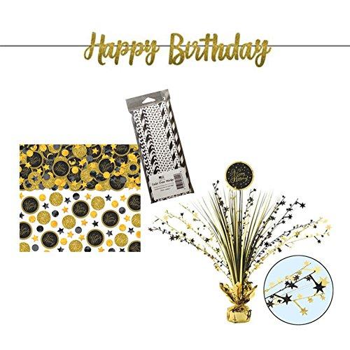 Premium Golden Birthday Decoration Party Supplies Pack   Paper Straws, Happy Birthday Gold Glitter Banner, Foil Spray Centerpiece, and Happy Birthday Gold Confetti   Premium Birthday Decorations - Centerpiece Spray Gold