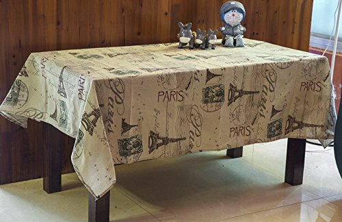 ChezMax Linen Fabric Table Cover Paris Towel Pattern Rectangle Tablecloth 35.4