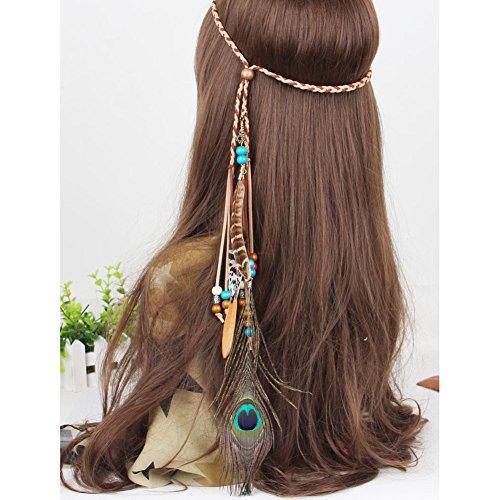 Feather Headband Fascinator Tassels Hair Band, Aiernuo Fe...