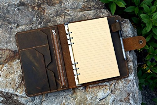 Vintage A5 Size Leather Organizer Agenda / Refillable Genuine Leather binder Diary Travel journal for Men Women NBA505TB by D&M Leather Studio