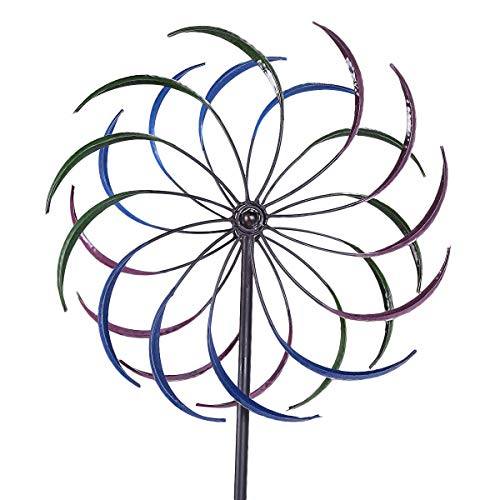 Spinner Double Wind - USA Premium Store Double Spiral Solar Lighted Garden Pinwheel Wind Spinner Yard Art