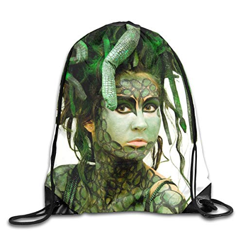 Medusa Halloween Green Sexy Patterned Themed Printed Drawstring Bundle Book School Shopping Travel Back Bags Draw String Gym Backpack Bulk Girl Boy Women Men