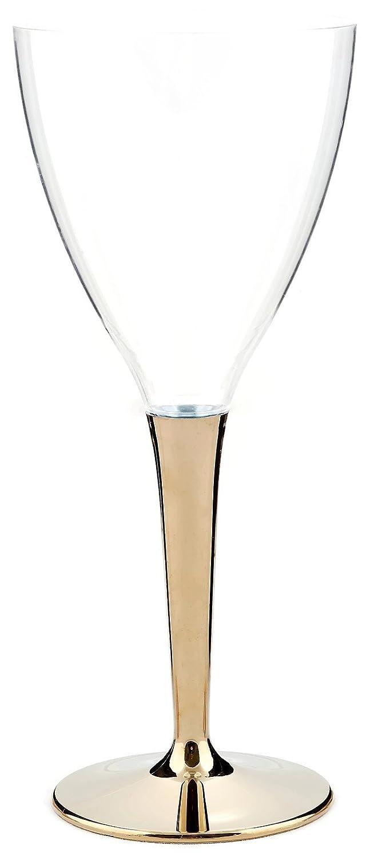 130ml MOZAIK 6 Gold Plastic Wine Glasses