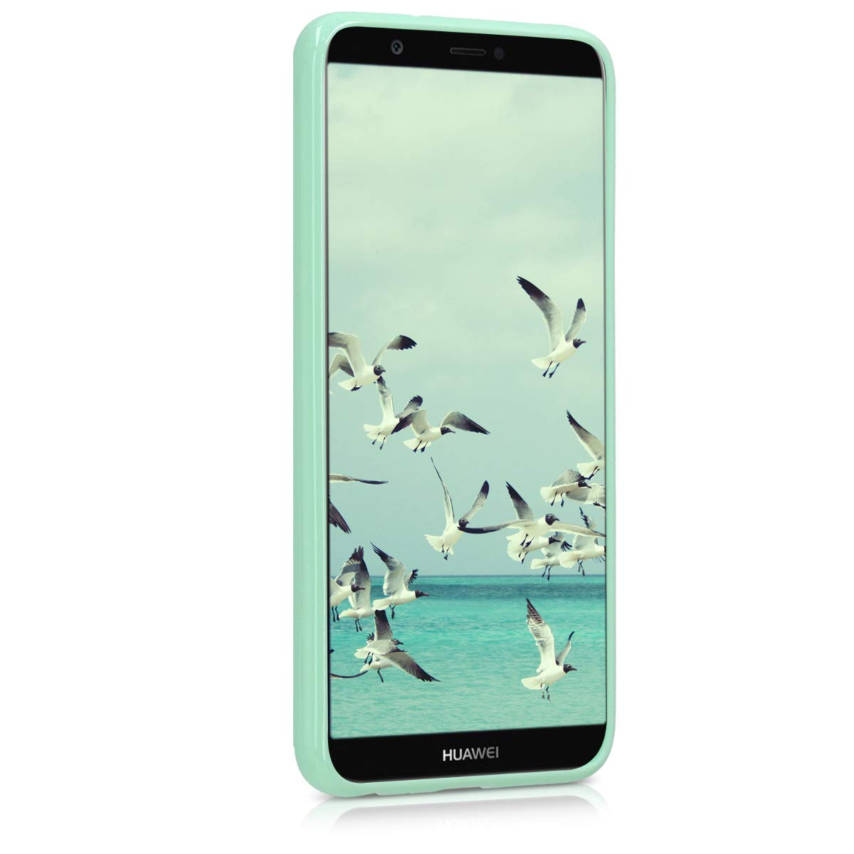 kwmobile TPU Silicone Case for Huawei Enjoy 7S / P Smart - Soft Flexible Shock Absorbent Protective Phone Cover - Mint Matte
